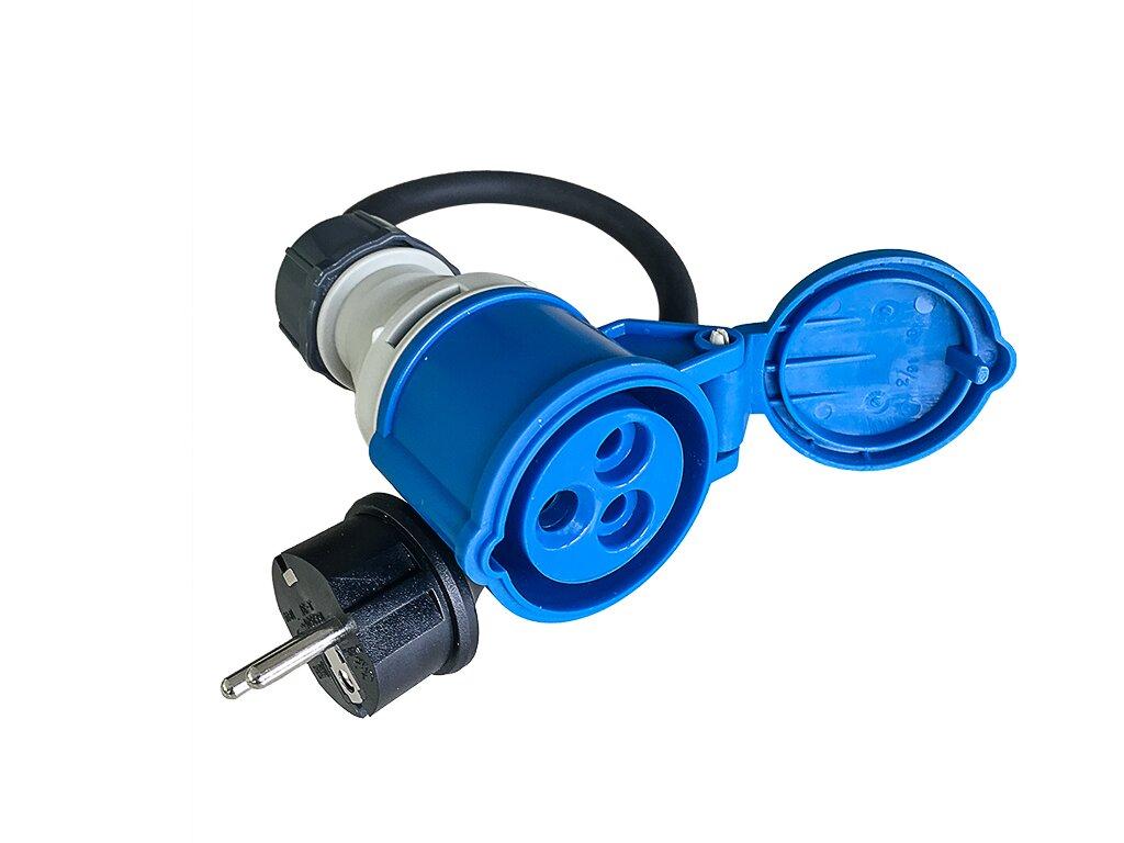 cee camping adapterkabel 3 polig 16a kupplung auf 230v schuko stecker. Black Bedroom Furniture Sets. Home Design Ideas